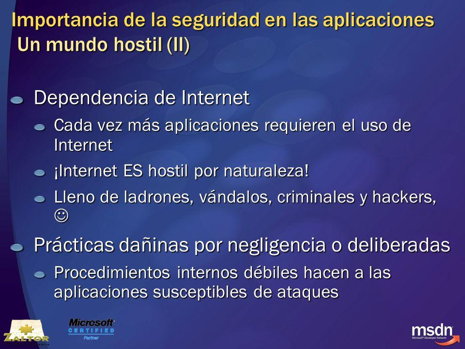 Importancia de la seguridad en las aplicaciones Un mundo hostil (II) Dependencia de Internet Cada vez más aplicaciones requieren el uso de Internet ¡I