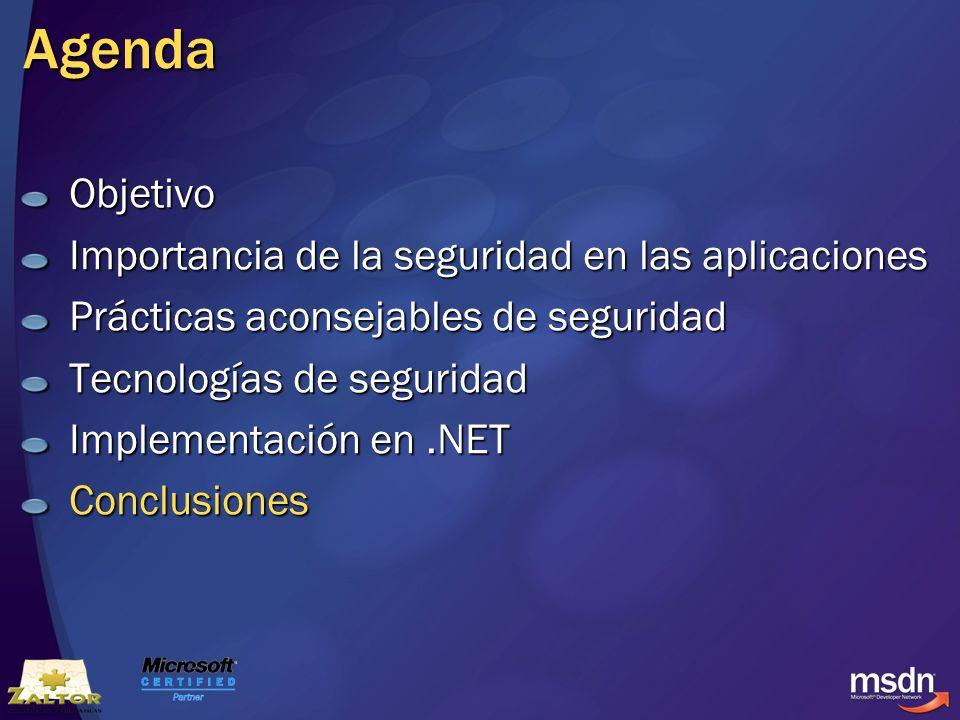 Agenda Objetivo Importancia de la seguridad en las aplicaciones Prácticas aconsejables de seguridad Tecnologías de seguridad Implementación en.NET Con