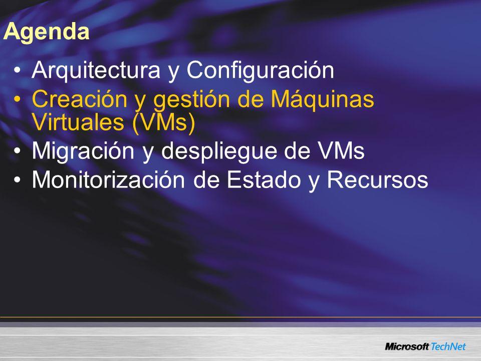 Agenda Arquitectura y Configuración Creación y gestión de Máquinas Virtuales (VMs) Migración y despliegue de VMs Monitorización de Estado y Recursos
