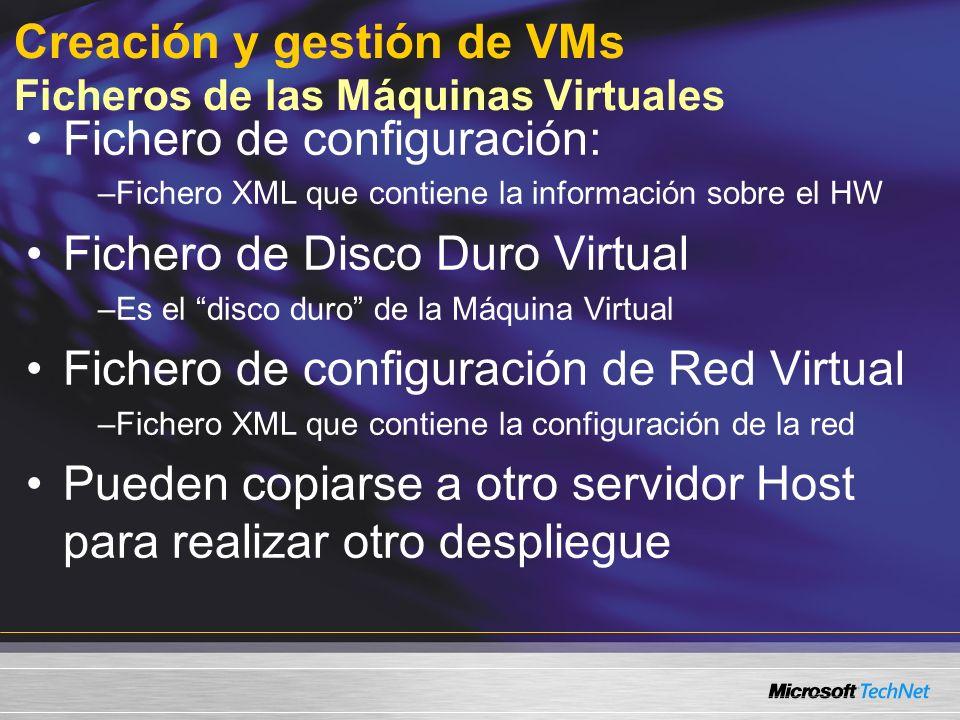 Creación y gestión de VMs Ficheros de las Máquinas Virtuales Fichero de configuración: –Fichero XML que contiene la información sobre el HW Fichero de Disco Duro Virtual –Es el disco duro de la Máquina Virtual Fichero de configuración de Red Virtual –Fichero XML que contiene la configuración de la red Pueden copiarse a otro servidor Host para realizar otro despliegue