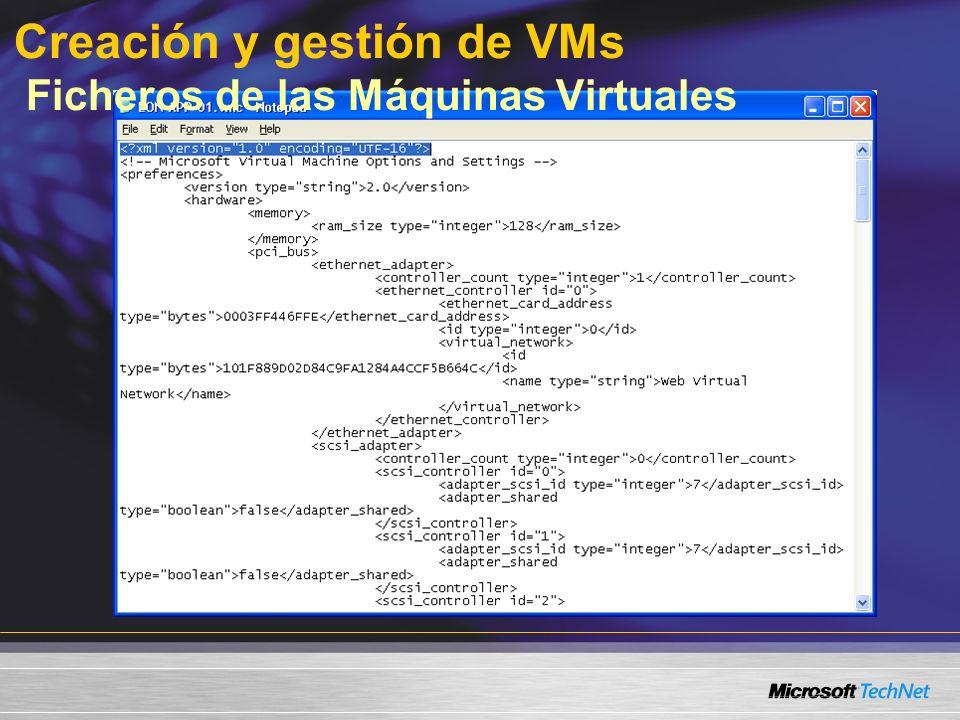 Creación y gestión de VMs Ficheros de las Máquinas Virtuales
