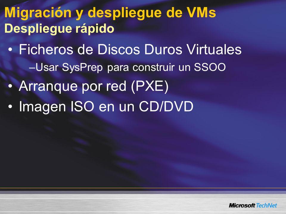 Migración y despliegue de VMs Despliegue rápido Ficheros de Discos Duros Virtuales –Usar SysPrep para construir un SSOO Arranque por red (PXE) Imagen ISO en un CD/DVD