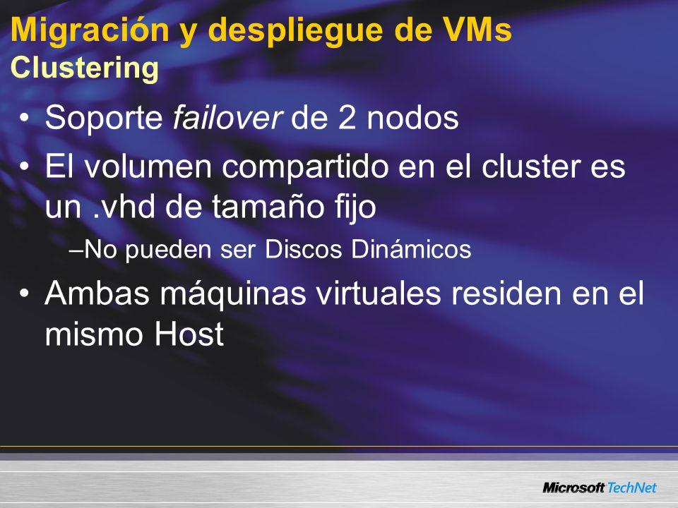 Migración y despliegue de VMs Clustering Soporte failover de 2 nodos El volumen compartido en el cluster es un.vhd de tamaño fijo –No pueden ser Discos Dinámicos Ambas máquinas virtuales residen en el mismo Host