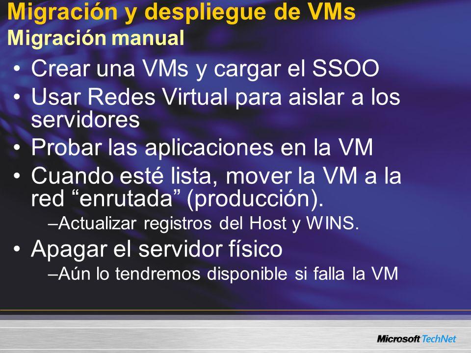 Migración y despliegue de VMs Migración manual Crear una VMs y cargar el SSOO Usar Redes Virtual para aislar a los servidores Probar las aplicaciones en la VM Cuando esté lista, mover la VM a la red enrutada (producción).