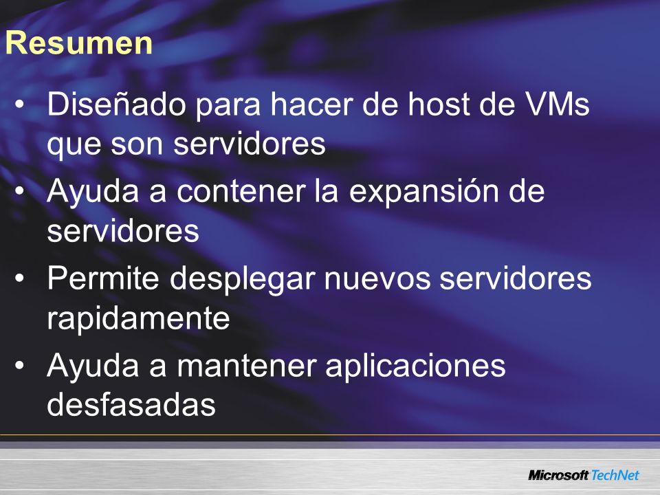 Resumen Diseñado para hacer de host de VMs que son servidores Ayuda a contener la expansión de servidores Permite desplegar nuevos servidores rapidamente Ayuda a mantener aplicaciones desfasadas