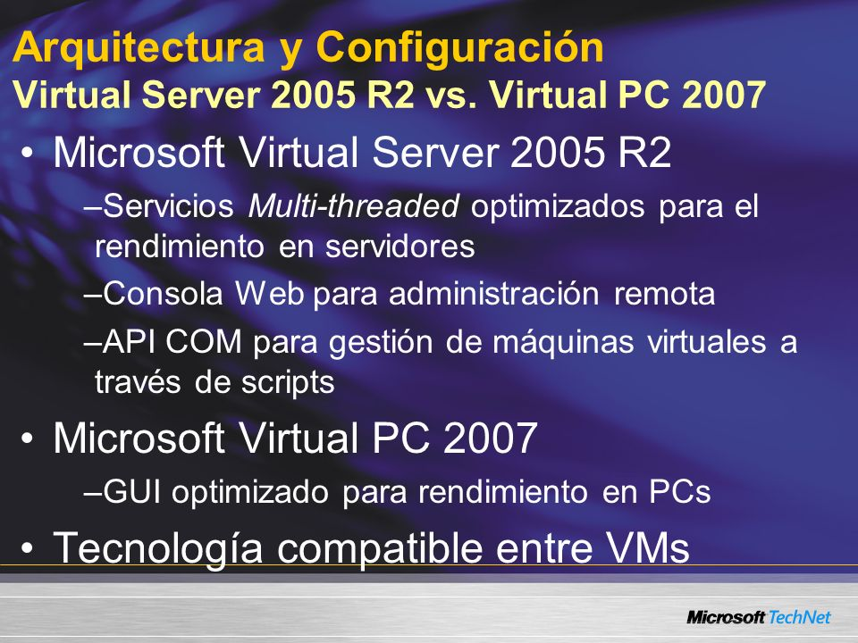Arquitectura y Configuración Virtual Server 2005 R2 vs.