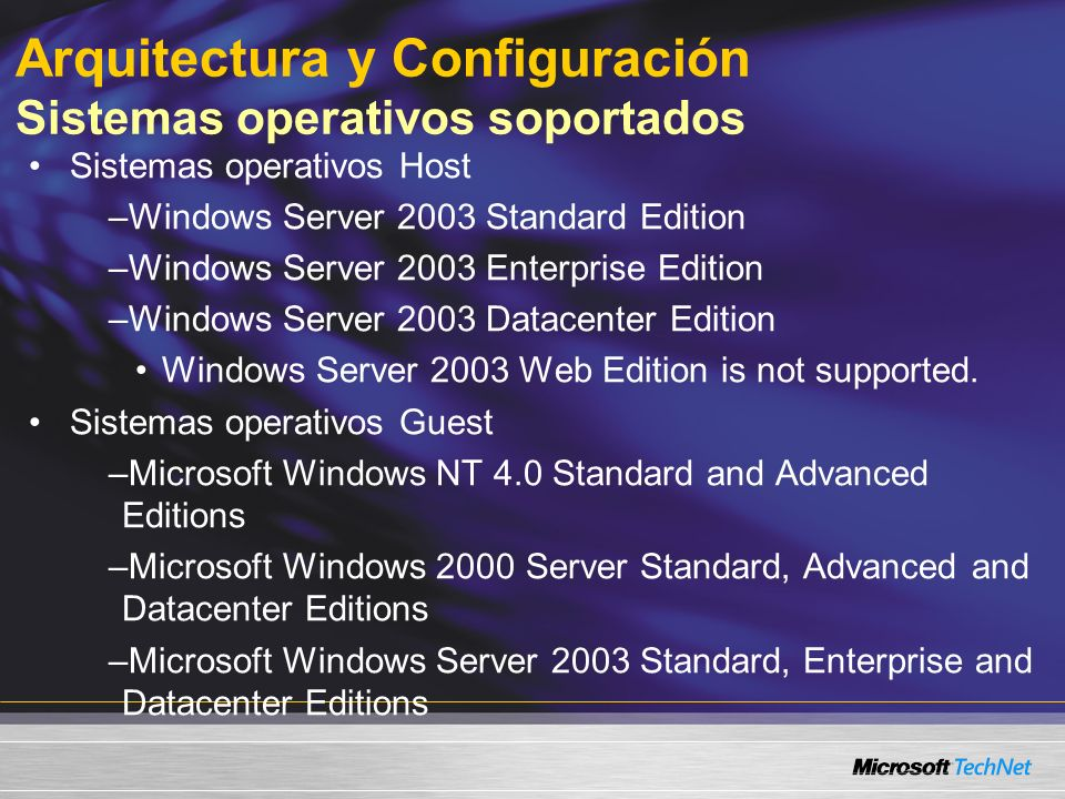 Arquitectura y Configuración Sistemas operativos soportados Sistemas operativos Host –Windows Server 2003 Standard Edition –Windows Server 2003 Enterprise Edition –Windows Server 2003 Datacenter Edition Windows Server 2003 Web Edition is not supported.