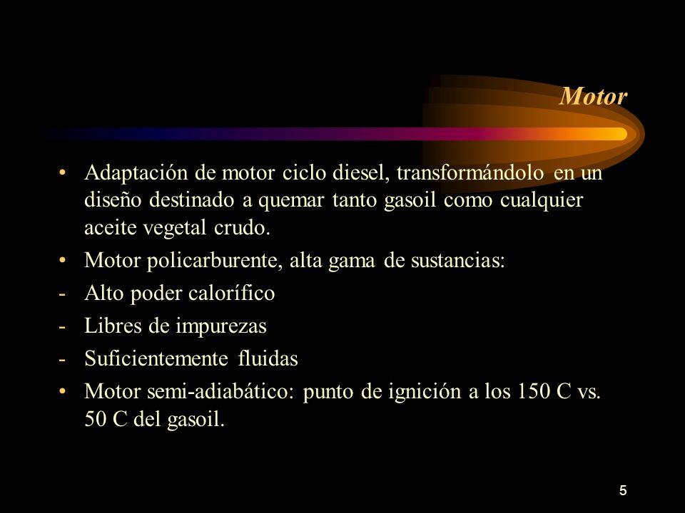 5 Motor Adaptación de motor ciclo diesel, transformándolo en un diseño destinado a quemar tanto gasoil como cualquier aceite vegetal crudo. Motor poli