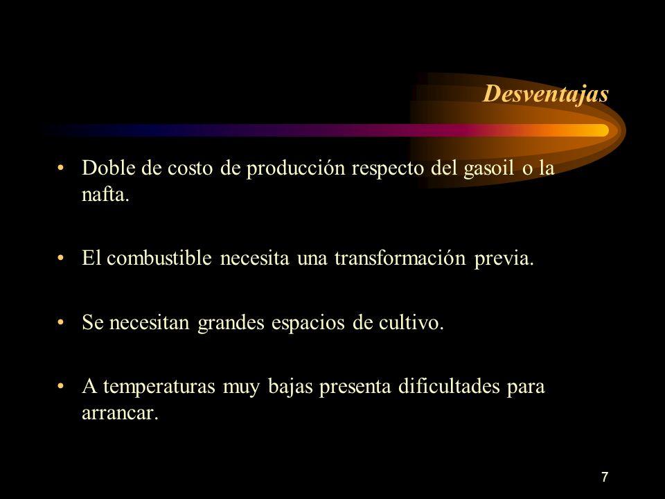 7 Desventajas Doble de costo de producción respecto del gasoil o la nafta. El combustible necesita una transformación previa. Se necesitan grandes esp