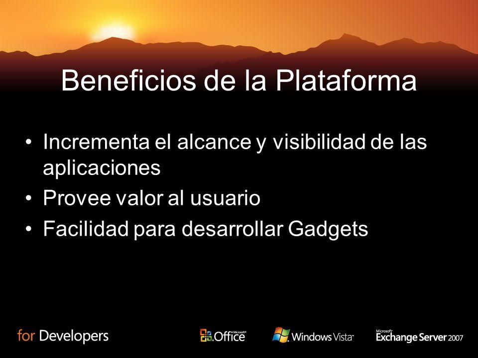 17 Beneficios de la Plataforma Incrementa el alcance y visibilidad de las aplicaciones Provee valor al usuario Facilidad para desarrollar Gadgets