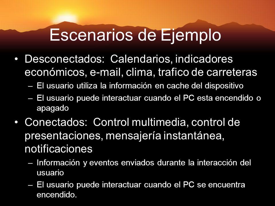 18 Escenarios de Ejemplo Desconectados: Calendarios, indicadores económicos, e-mail, clima, trafico de carreteras –El usuario utiliza la información e