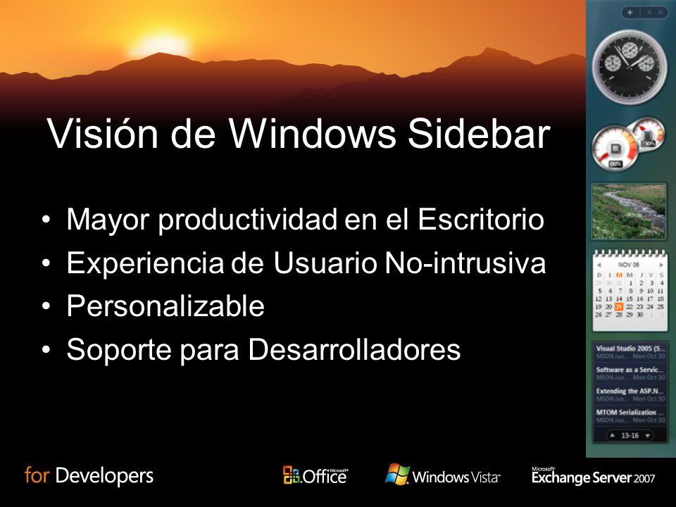 Visión de Windows Sidebar Mayor productividad en el Escritorio Experiencia de Usuario No-intrusiva Personalizable Soporte para Desarrolladores