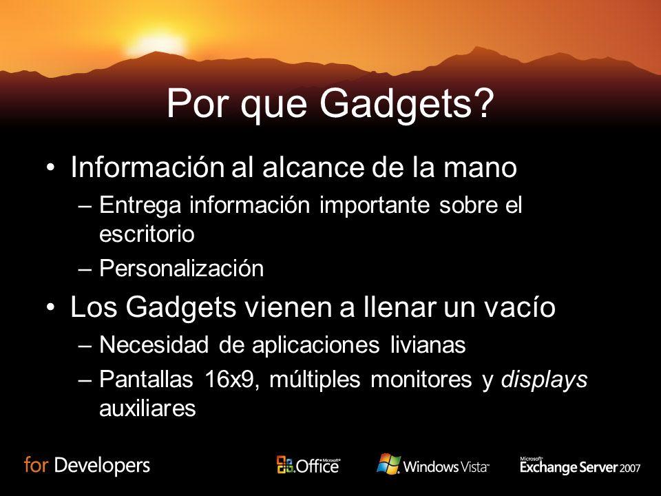 Por que Gadgets? Información al alcance de la mano –Entrega información importante sobre el escritorio –Personalización Los Gadgets vienen a llenar un
