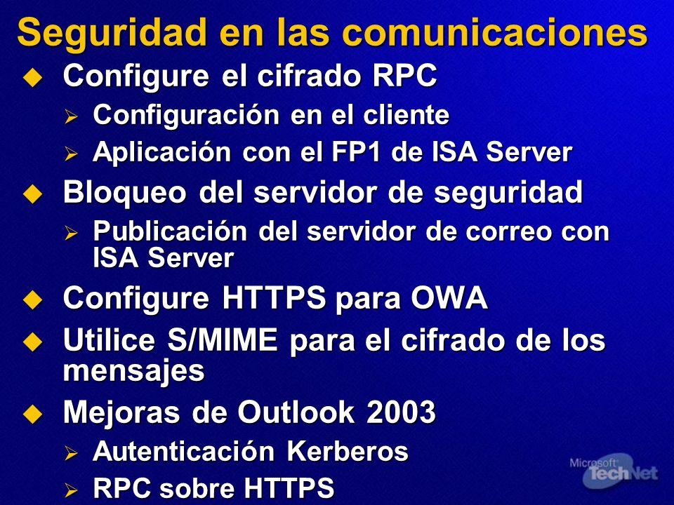 Seguridad en las comunicaciones Configure el cifrado RPC Configure el cifrado RPC Configuración en el cliente Configuración en el cliente Aplicación c