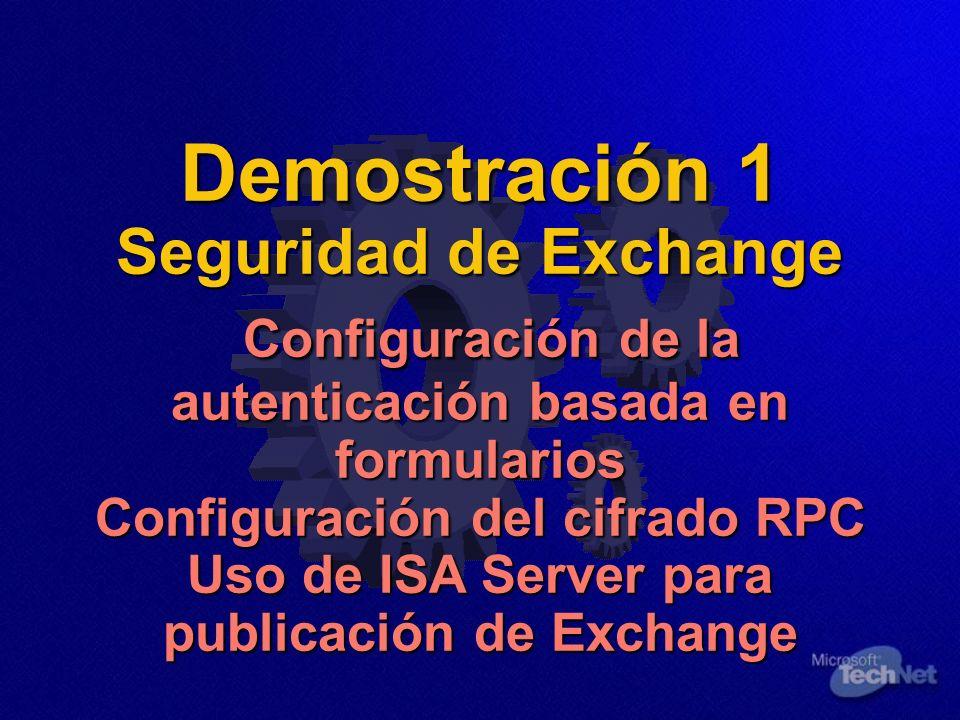 Demostración 1 Seguridad de Exchange Configuración de la autenticación basada en formularios Configuración del cifrado RPC Uso de ISA Server para publ