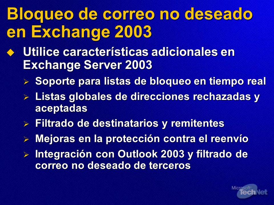 Bloqueo de correo no deseado en Exchange 2003 Utilice características adicionales en Exchange Server 2003 Utilice características adicionales en Excha