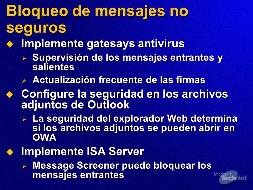 Bloqueo de mensajes no seguros Implemente gatesays antivirus Implemente gatesays antivirus Supervisión de los mensajes entrantes y salientes Supervisi