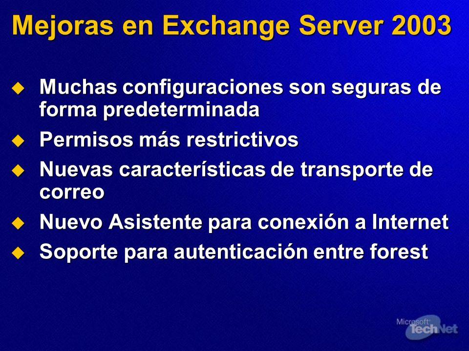 Mejoras en Exchange Server 2003 Muchas configuraciones son seguras de forma predeterminada Muchas configuraciones son seguras de forma predeterminada