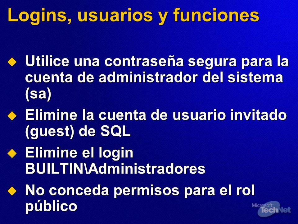 Logins, usuarios y funciones Utilice una contraseña segura para la cuenta de administrador del sistema (sa) Utilice una contraseña segura para la cuen