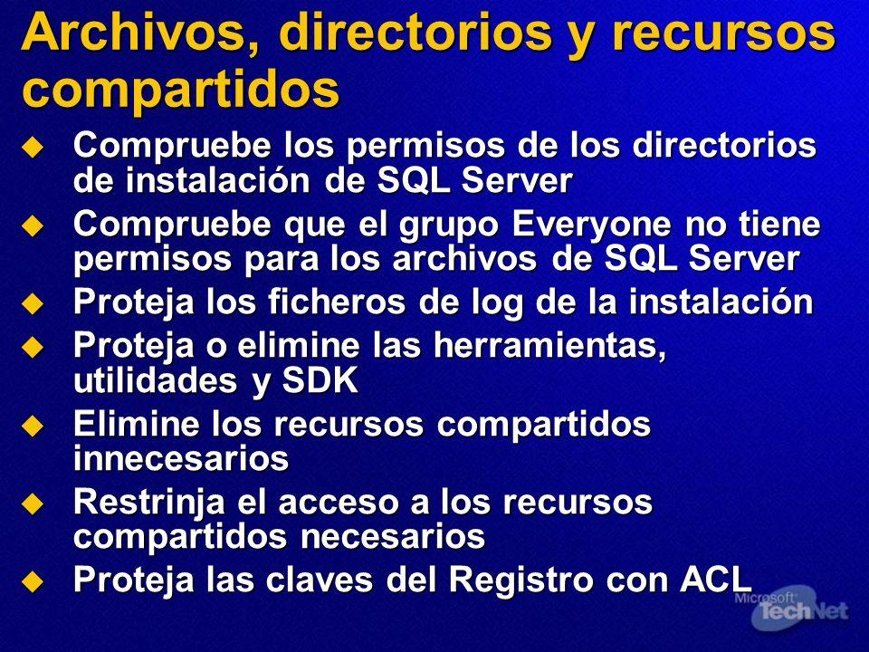 Archivos, directorios y recursos compartidos Compruebe los permisos de los directorios de instalación de SQL Server Compruebe los permisos de los dire