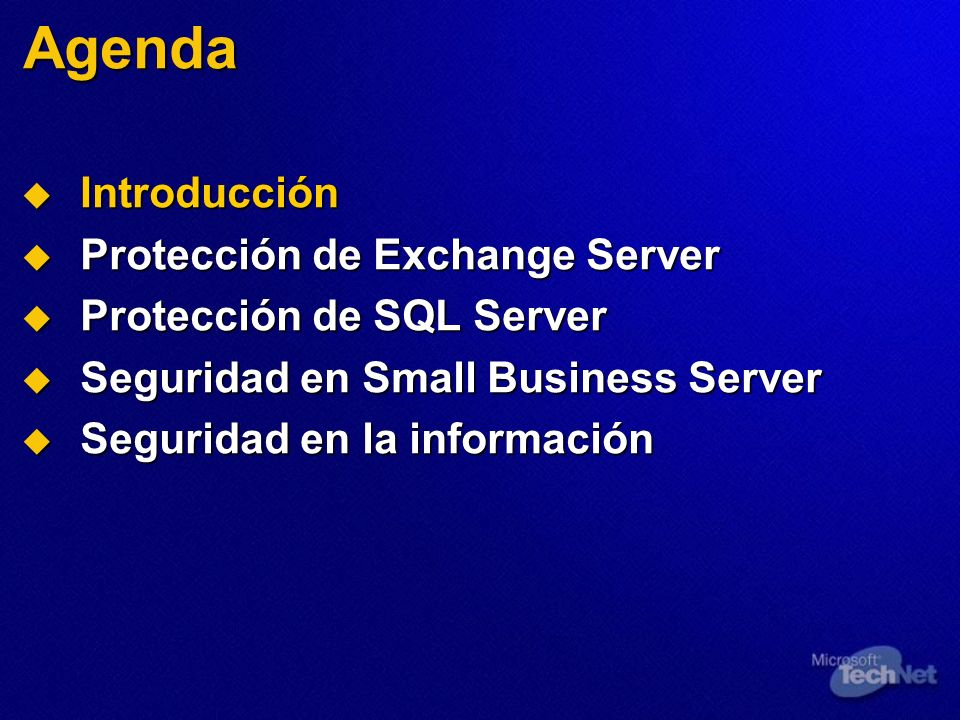 Seguridad en las comunicaciones Configure el cifrado RPC Configure el cifrado RPC Configuración en el cliente Configuración en el cliente Aplicación con el FP1 de ISA Server Aplicación con el FP1 de ISA Server Bloqueo del servidor de seguridad Bloqueo del servidor de seguridad Publicación del servidor de correo con ISA Server Publicación del servidor de correo con ISA Server Configure HTTPS para OWA Configure HTTPS para OWA Utilice S/MIME para el cifrado de los mensajes Utilice S/MIME para el cifrado de los mensajes Mejoras de Outlook 2003 Mejoras de Outlook 2003 Autenticación Kerberos Autenticación Kerberos RPC sobre HTTPS RPC sobre HTTPS
