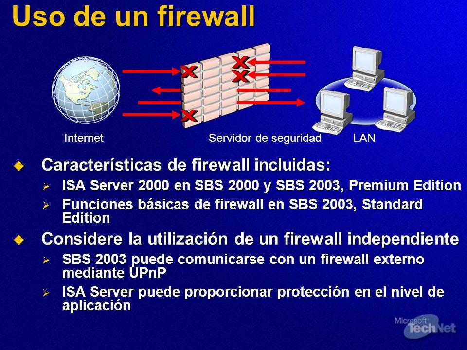 Uso de un firewall Características de firewall incluidas: Características de firewall incluidas: ISA Server 2000 en SBS 2000 y SBS 2003, Premium Editi