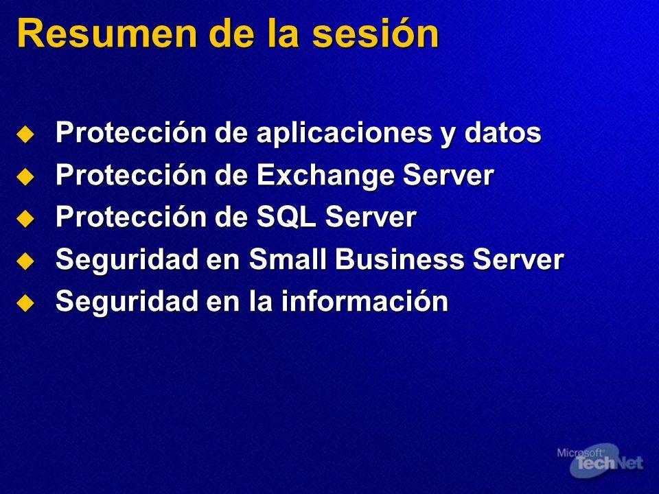 Resumen de la sesión Protección de aplicaciones y datos Protección de aplicaciones y datos Protección de Exchange Server Protección de Exchange Server