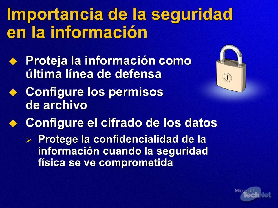 Seguridad de las aplicaciones Web Valide todos los datos de entrada Valide todos los datos de entrada Proteja la autenticación y la autorización Proteja la autenticación y la autorización Proteja los datos confidenciales Proteja los datos confidenciales Utilice cuentas de servicio y proceso con los privilegios mínimos Utilice cuentas de servicio y proceso con los privilegios mínimos Configure la auditoría y el registro Configure la auditoría y el registro Utilice métodos estructurados de tratamiento de excepciones Utilice métodos estructurados de tratamiento de excepciones