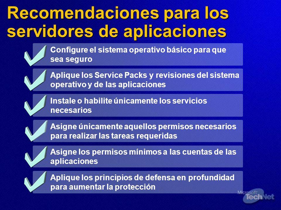 Recomendaciones para los servidores de aplicaciones Configure el sistema operativo básico para que sea seguro Aplique los Service Packs y revisiones d