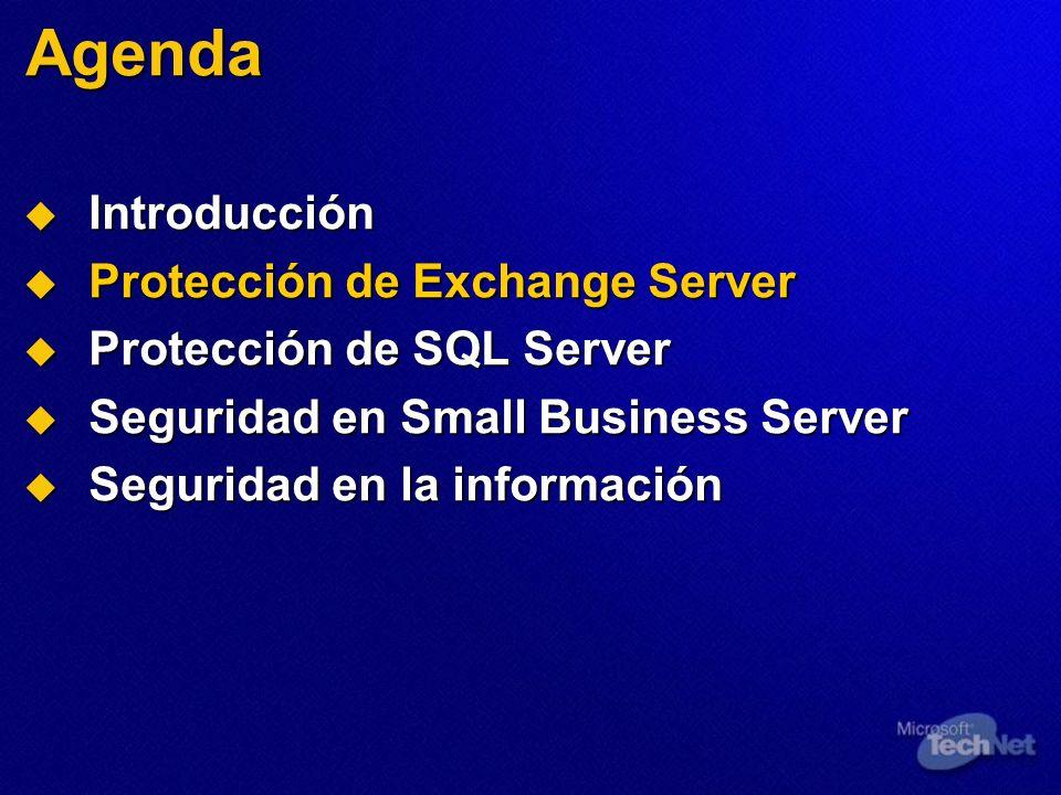 Agenda Introducción Introducción Protección de Exchange Server Protección de Exchange Server Protección de SQL Server Protección de SQL Server Segurid
