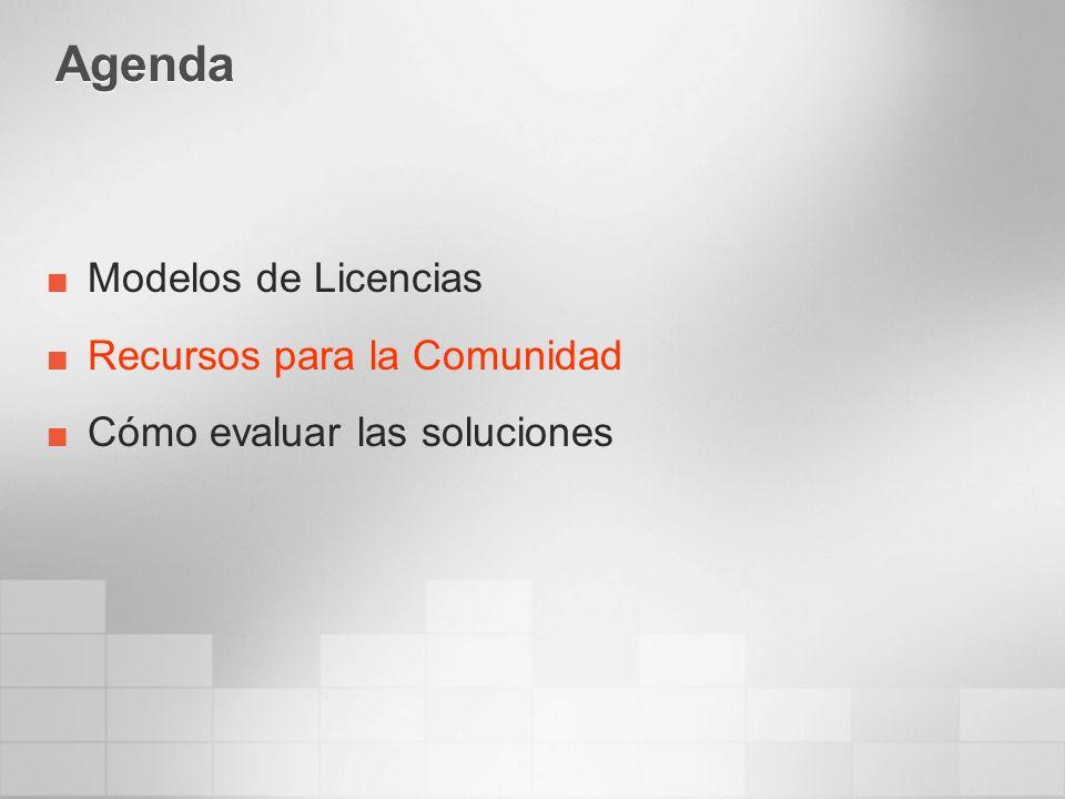 Agenda Modelos de Licencias Recursos para la Comunidad Cómo evaluar las soluciones
