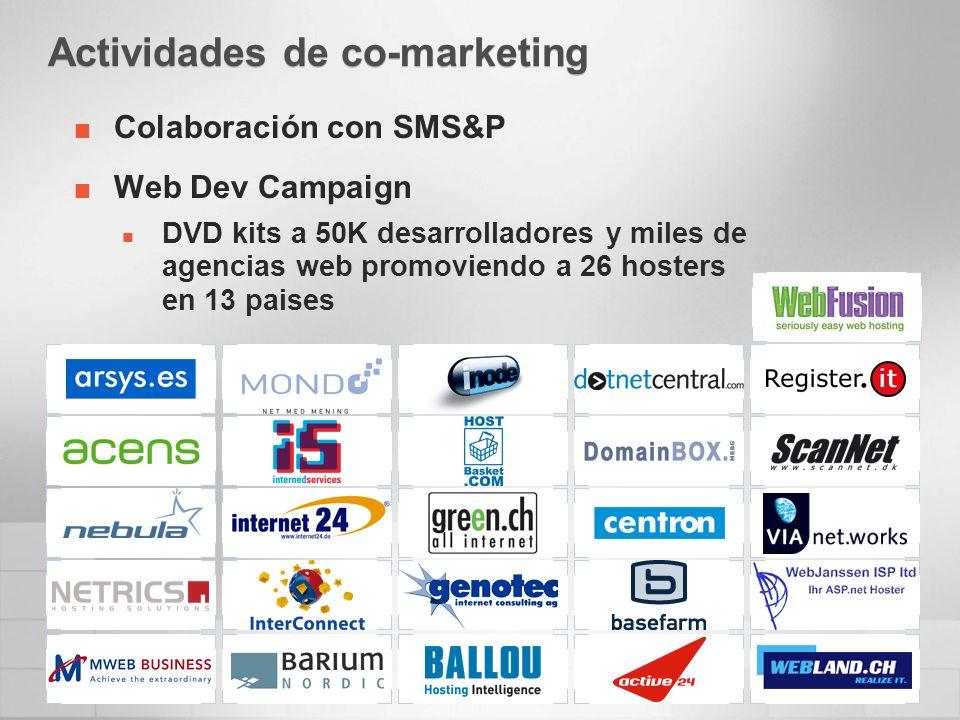 Actividades de co-marketing Colaboración con SMS&P Web Dev Campaign DVD kits a 50K desarrolladores y miles de agencias web promoviendo a 26 hosters en