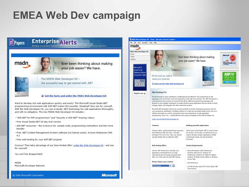 EMEA Web Dev campaign