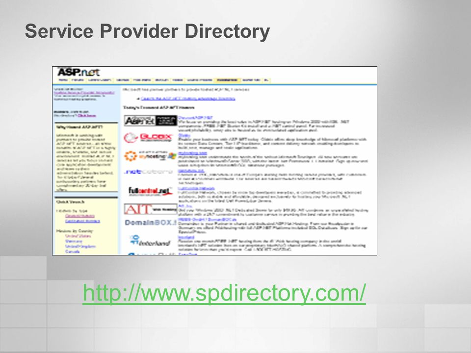 Service Provider Directory http://www.spdirectory.com/