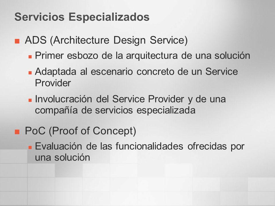 Servicios Especializados ADS (Architecture Design Service) Primer esbozo de la arquitectura de una solución Adaptada al escenario concreto de un Service Provider Involucración del Service Provider y de una compañía de servicios especializada PoC (Proof of Concept) Evaluación de las funcionalidades ofrecidas por una solución