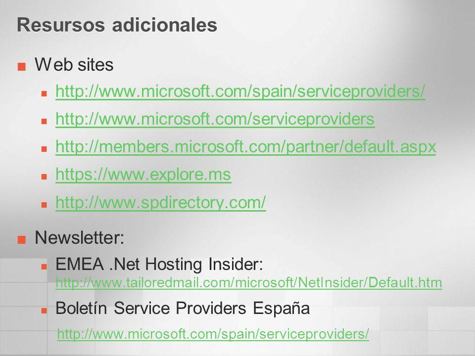 Resursos adicionales Web sites http://www.microsoft.com/spain/serviceproviders/ http://www.microsoft.com/serviceproviders http://members.microsoft.com/partner/default.aspx https://www.explore.ms http://www.spdirectory.com/ Newsletter: EMEA.Net Hosting Insider: http://www.tailoredmail.com/microsoft/NetInsider/Default.htm http://www.tailoredmail.com/microsoft/NetInsider/Default.htm Boletín Service Providers España http://www.microsoft.com/spain/serviceproviders/