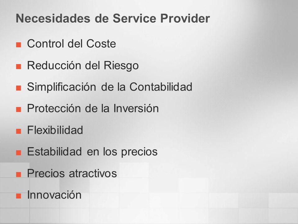Necesidades de Service Provider Control del Coste Reducción del Riesgo Simplificación de la Contabilidad Protección de la Inversión Flexibilidad Estab