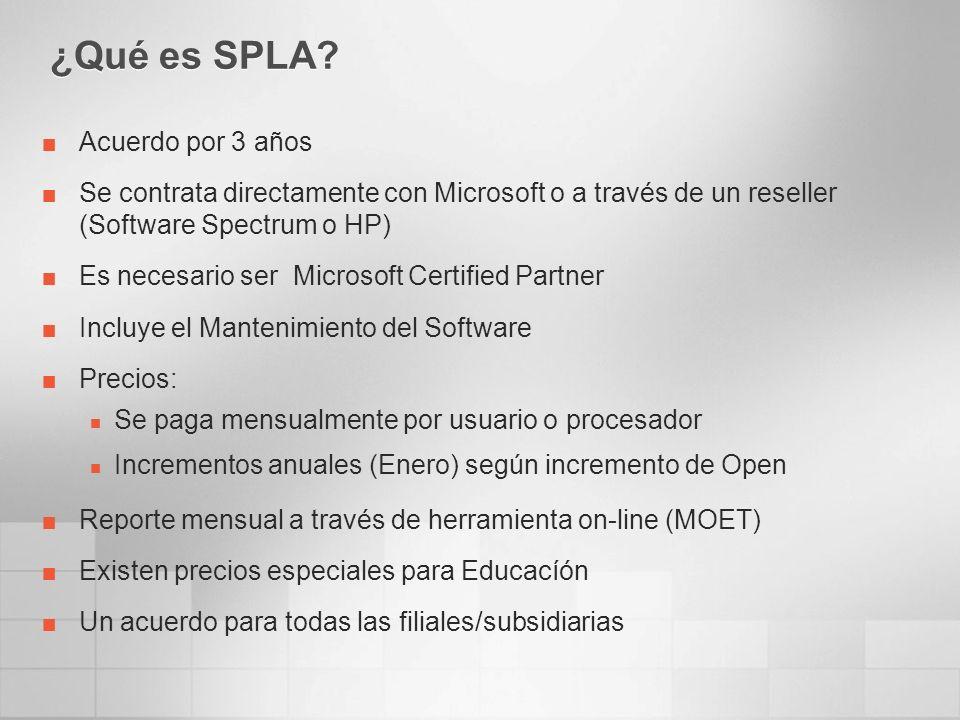 ¿Qué es SPLA? Acuerdo por 3 años Se contrata directamente con Microsoft o a través de un reseller (Software Spectrum o HP) Es necesario ser Microsoft