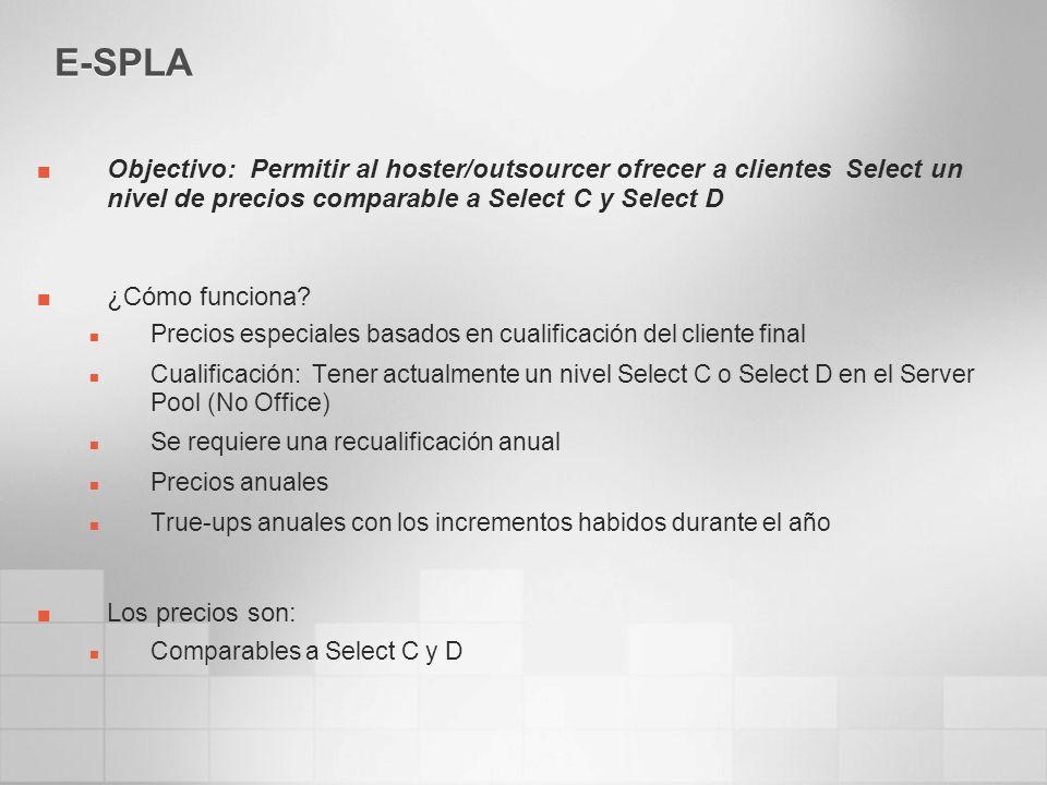 E-SPLA Objectivo: Permitir al hoster/outsourcer ofrecer a clientes Select un nivel de precios comparable a Select C y Select D ¿Cómo funciona? Precios