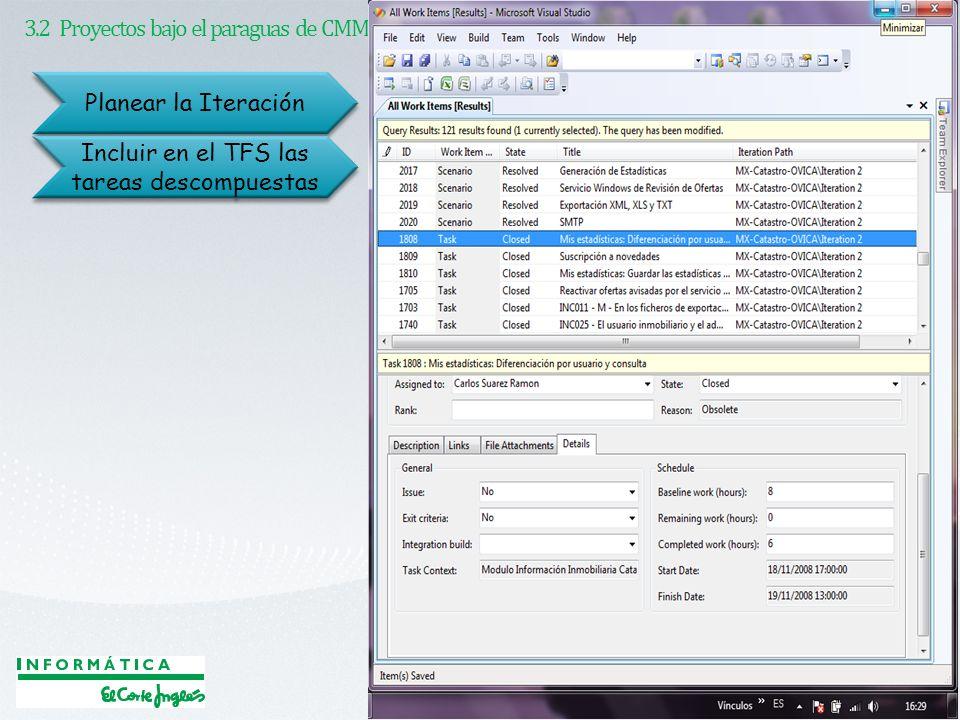 3.2 Proyectos bajo el paraguas de CMMI Planear la Iteración Incluir en el TFS las tareas descompuestas