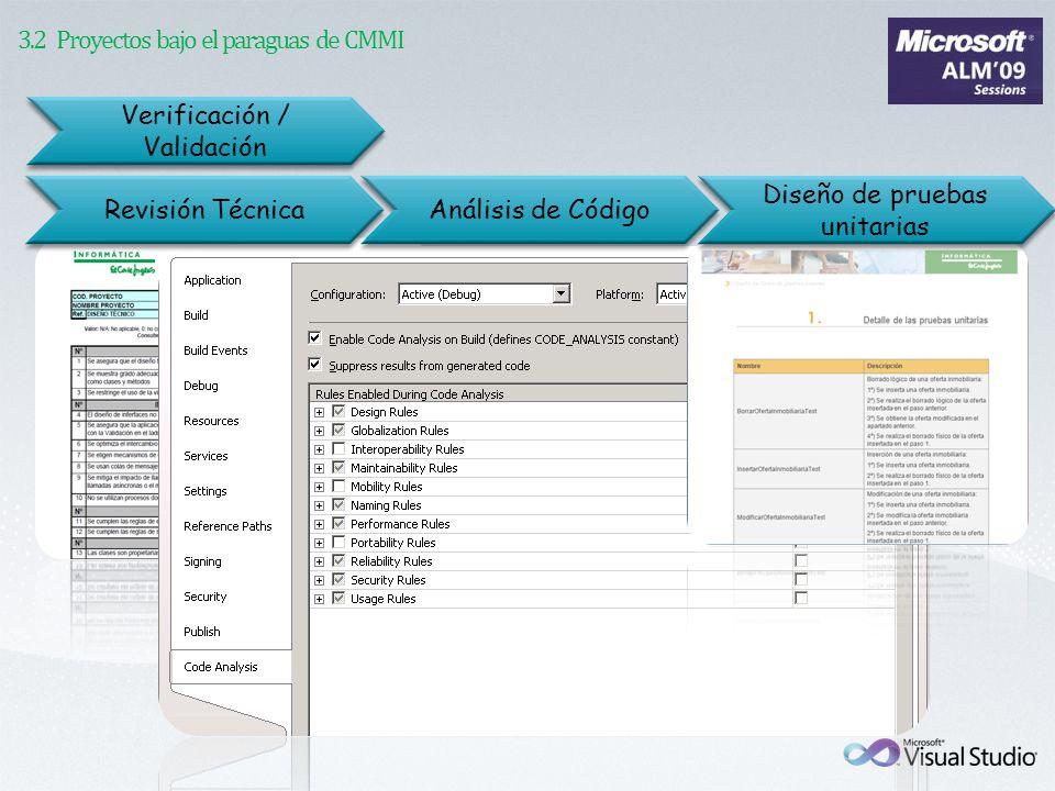 Verificación / Validación Diseño de pruebas unitarias Revisión Técnica Análisis de Código