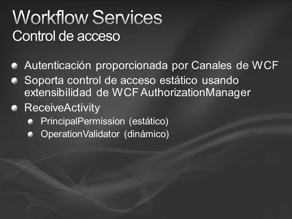 Autenticación proporcionada por Canales de WCF Soporta control de acceso estático usando extensibilidad de WCF AuthorizationManager ReceiveActivity PrincipalPermission (estático) OperationValidator (dinámico)