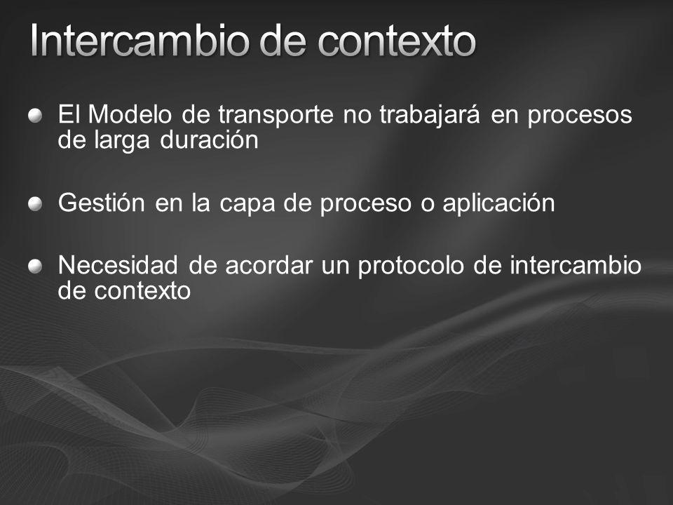 El Modelo de transporte no trabajará en procesos de larga duración Gestión en la capa de proceso o aplicación Necesidad de acordar un protocolo de intercambio de contexto