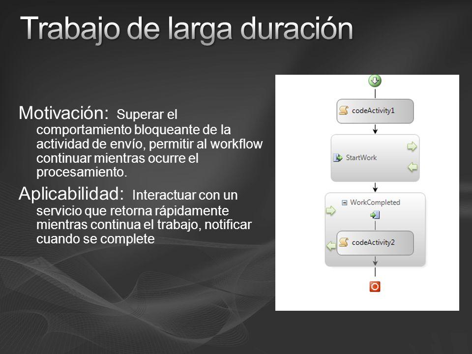 Motivación: Superar el comportamiento bloqueante de la actividad de envío, permitir al workflow continuar mientras ocurre el procesamiento.