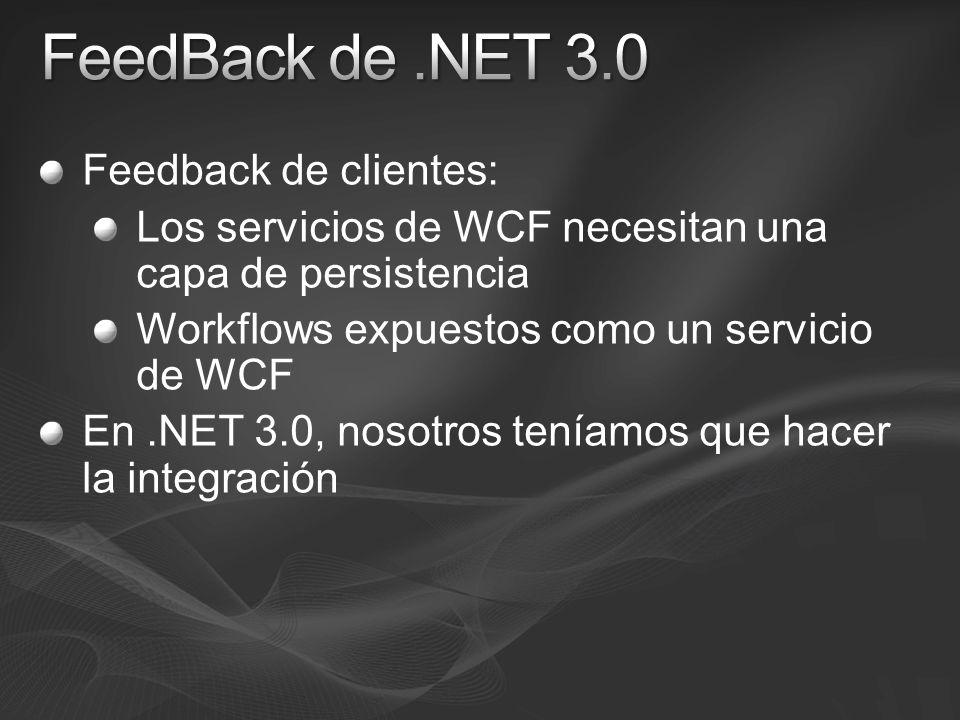 Feedback de clientes: Los servicios de WCF necesitan una capa de persistencia Workflows expuestos como un servicio de WCF En.NET 3.0, nosotros teníamos que hacer la integración