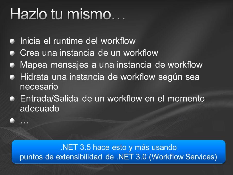 Inicia el runtime del workflow Crea una instancia de un workflow Mapea mensajes a una instancia de workflow Hidrata una instancia de workflow según sea necesario Entrada/Salida de un workflow en el momento adecuado ….NET 3.5 hace esto y más usando puntos de extensibilidad de.NET 3.0 (Workflow Services).NET 3.5 hace esto y más usando puntos de extensibilidad de.NET 3.0 (Workflow Services)