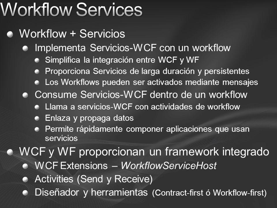 Workflow + Servicios Implementa Servicios-WCF con un workflow Simplifica la integración entre WCF y WF Proporciona Servicios de larga duración y persistentes Los Workflows pueden ser activados mediante mensajes Consume Servicios-WCF dentro de un workflow Llama a servicios-WCF con actividades de workflow Enlaza y propaga datos Permite rápidamente componer aplicaciones que usan servicios WCF y WF proporcionan un framework integrado WCF Extensions – WorkflowServiceHost Activities (Send y Receive) Diseñador y herramientas (Contract-first ó Workflow-first)