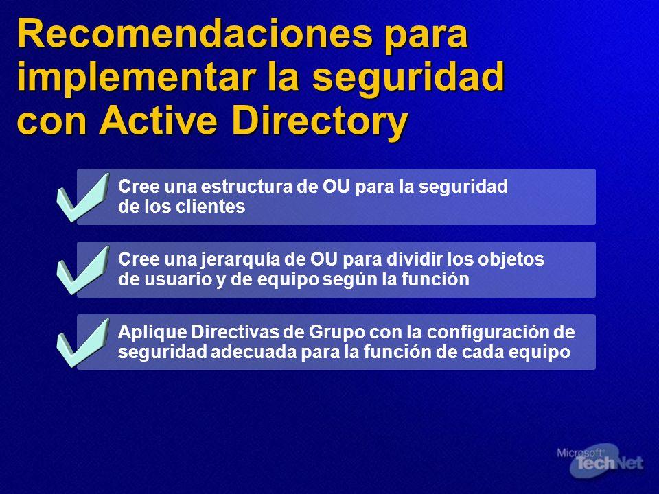 Recomendaciones para implementar la seguridad con Active Directory Cree una estructura de OU para la seguridad de los clientes Cree una jerarquía de O
