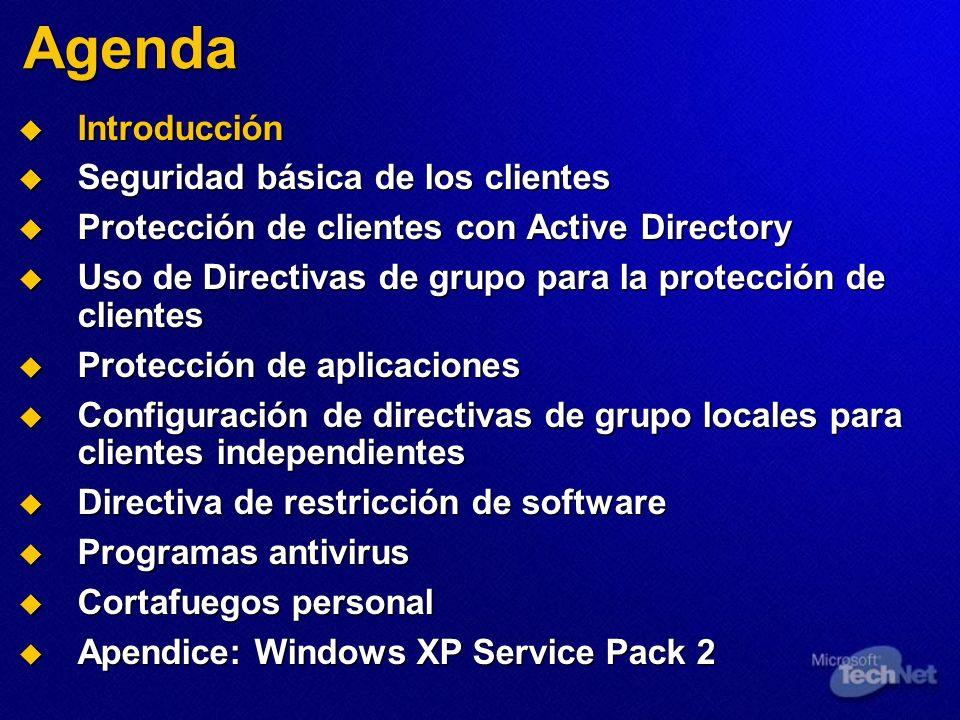 Agenda Introducción Introducción Seguridad básica de los clientes Seguridad básica de los clientes Protección de clientes con Active Directory Protecc