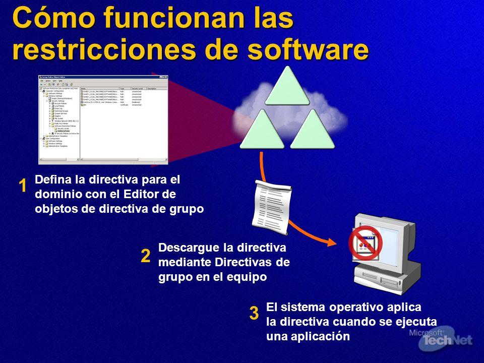 Cómo funcionan las restricciones de software Defina la directiva para el dominio con el Editor de objetos de directiva de grupo Descargue la directiva